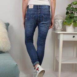 Jewelly Damen Stretch Jeans| Boyfriend Hose mit sichtbarer Knopfleiste| Paillettentaschen