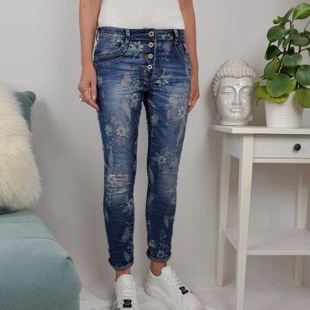Jewelly Damen Stretch Jeans  Boyfriend Hose mit Blumen Muster  Flower Print Denim