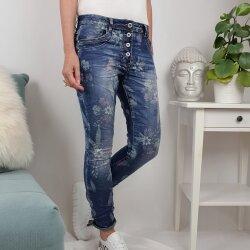 Jewelly Damen Stretch Jeans| Boyfriend Hose mit Blumen...