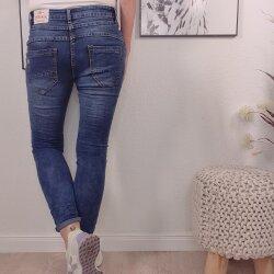 Boyfriend Stretch Jeans in dunkler Waschung