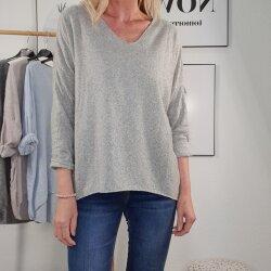 Langarmshirt mit Wolle und Silberkante