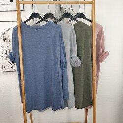 Vokuhila Sweatshirt- Longsleeve aus Frotteesweat