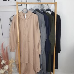 Maxi Vokuhila Kapuzen Shirt