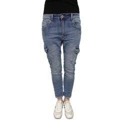Karostar Denim Stretch Baggy-Cargo-Jeans mit Seiten Taschen