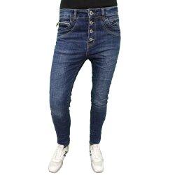 Karostar Denim Stretch Baggy-Boyfriend-Jeans boyfriend 4 Knöpfe offene Knopfleiste weitere Farben