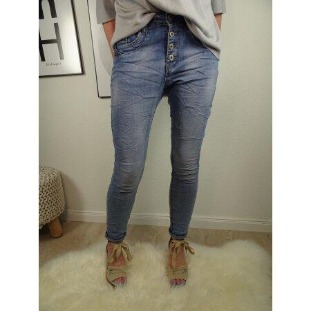 Jewelly Boyfriend Stretch Jeans offene Knopfleiste blaue Pailletten