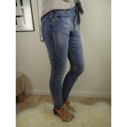 Jewelly Boyfriend Stretch Jeans offene Knopfleiste blaue...