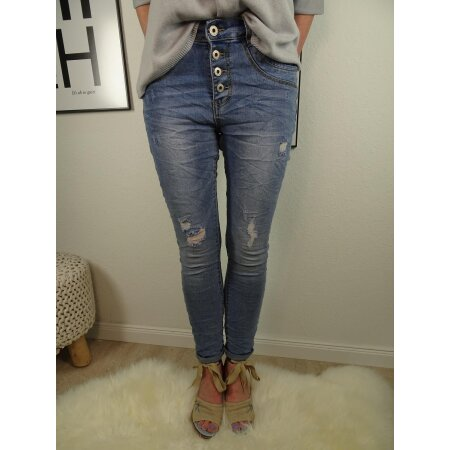 Jewelly baggy Stretch Jeans Denim Pants offene Knopfleiste used destroyed