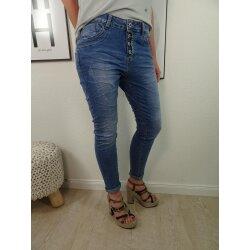 Jewelly by Lexxury Stretch Jeans| im baggy boyfriend Schnitt| mit ausgefranster offener Knopfleiste| tapered Fit