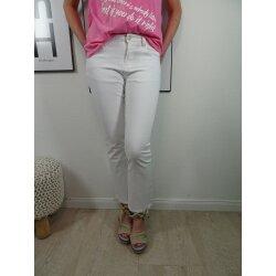 Jewelly Stretch Jeans flared leg  Denim Hose mit ausgestelltem Bein  fringe bottom Jeans  ausgefranster Saum