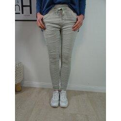 Jewelly Damen | lange Jeans Hose aus weichem Sweat Denim| Schlupfhose aus Jogg Stoff | athleisure Pants