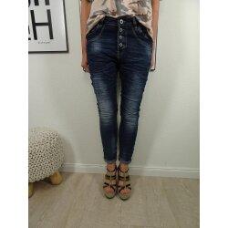 Jewelly Stretch Jeans| im baggy boyfriend Schnitt| Damen Hose mit dekorativer Knopfleiste| perfekter Sitz