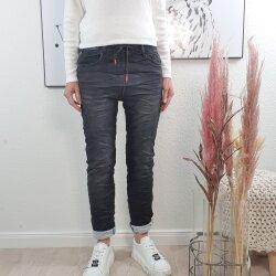 Karostar Damen  Jeans  lange Jeans Hose aus weichem Sweat Denim  Schlupfhose aus Jogg Stoff   athleisure Pants