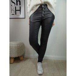 Jewelly Damen Stretch fake Leather Kunstleder Hose...