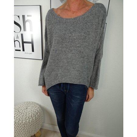 Italy Fashion VoKuHiLa Strick Pullover  weiter oversized Jumper  asymmetrischer Sweater
