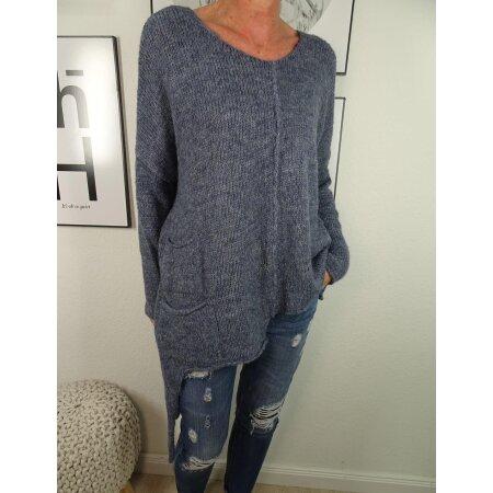 Damen Strick Pullover| asymmetrischer Zipfel Pulli| oversized Jumper