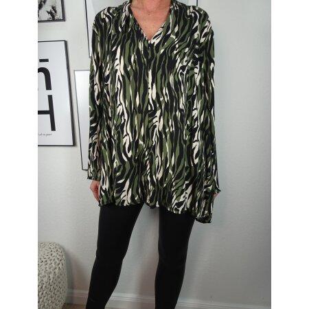 Italy Fashion Damen Bluse Animal Print Tunika mit V-Ausschnitt
