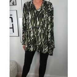 Italy Fashion Damen Bluse Animal Print Tunika mit...