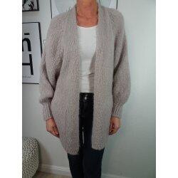 Italy Fashion offener Cardigan mit Mohair lange Strickjacke mit Taschen