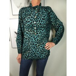 Italy Fashion Animal Print Bluse| lockere Tunika mit Leo Print| Fischerhemd mit gerüschtem Stehkragen