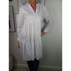 Italy Fashion einfarbige Boho Tunika Kleid gestufte Baumwoll Long Bluse
