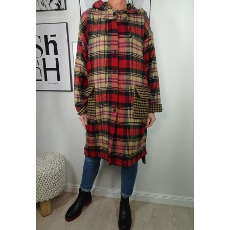 Italy fashion karierter Mantel mit Kapuze| checkered Coat mit Wolle| oversized Winter Übergangsjacke