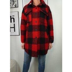 Italy fashion karierte Damen Jacke  Holzfäller Hemd Jacke für den Winter lange  boyfriend Übergangsjacke