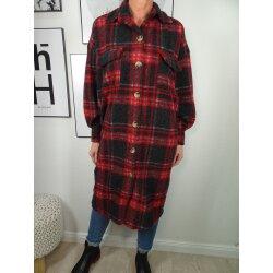 Italy Fashion karierter Damen Mantel| lange Übergangs Winter Jacke mit Wolle| Checkered Coat