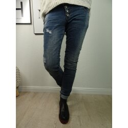 Buena Vista Malibu | Damen Jeans Hose used Waschung | Stretch Denim Pants Knopfleiste