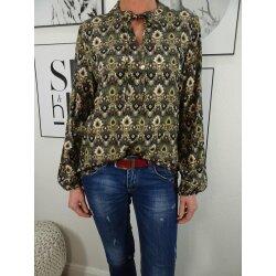 Italy Fashion Bluse Tunika im Retro Print mit Stehkragen