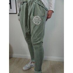 Italy Fashion Harems Hose  Freizeit Jogg Pants mit tiefem Schritt   Aladin Sweat Schlupfhose mit Hosenträgern