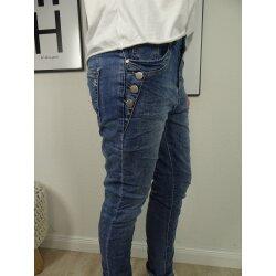 Karostar Damen Boyfriend Stretch Jeans mit offener...