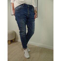 Karostar Damen Boyfriend Stretch Jeans mit offener Knopfleiste