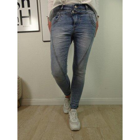 Jewelly Damen Stretch Jeans mit doppelten Bund|5-Pocket Denim Boyfriend Hose mittlere Bund| Tapered Fit