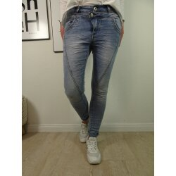 Jewelly Damen Stretch Jeans mit doppelten Bund|5-Pocket...