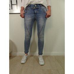 Jewelly Damen Stretch Jeans mit doppelten Bund|5-Pocket...