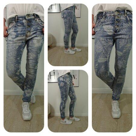 Jewelly Stretch Jeans| im baggy boyfriend Schnitt| Damen Hose mit Knopfleiste und Blumen Print