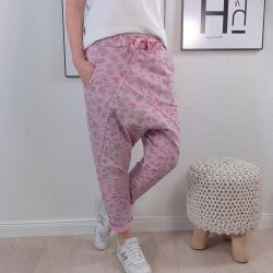 Harems Sweat Hose- Schlupfhose mit Animal Print
