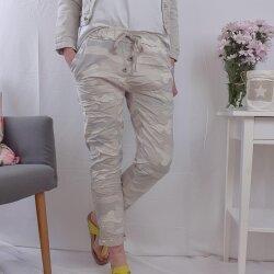 Sweat Hose in Camouflage Muster- Schlupfhose mit Knopfleiste