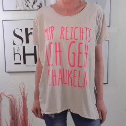 Oversized Shirt ICH GEH SCHAUKELN One Size Beige