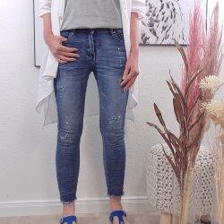 Painted Denim Skinny Jeans -Fringe Bottems