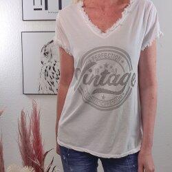 Vintage Glitzer Shirt mit Fransenkante