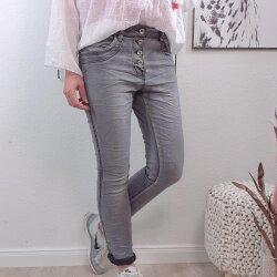 Boyfriend Jeans mir Nieten S Grey Denim