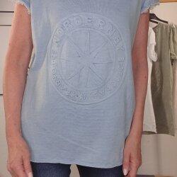 Relief Print Shirt Norderney V-Neck